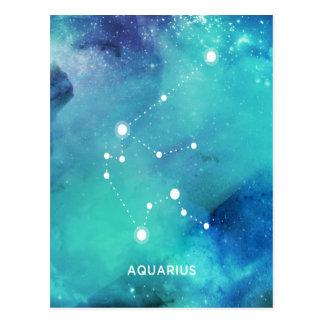 Elegant Teal Blue Watercolor Nebula Aquarius Postcard