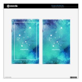 Elegant Teal Blue Watercolor Nebula Aquarius Skins For Kindle Fire