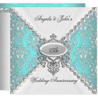 Elegant Teal Blue White 25th Wedding Anniversary Invitation