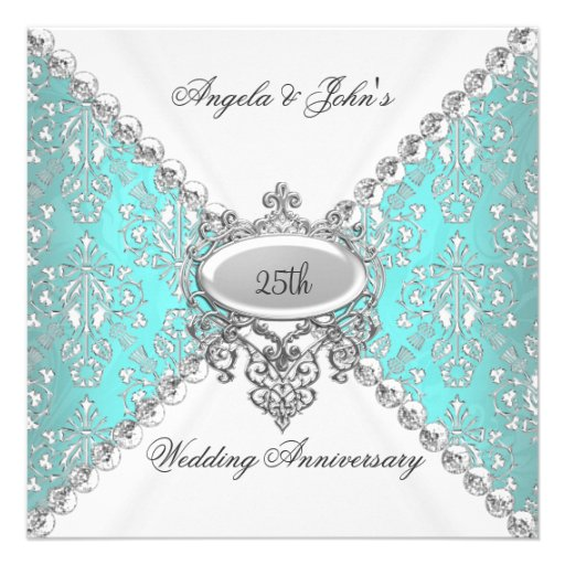 Elegant Teal Blue White 25th Wedding Anniversary Personalized Invitation (front side)
