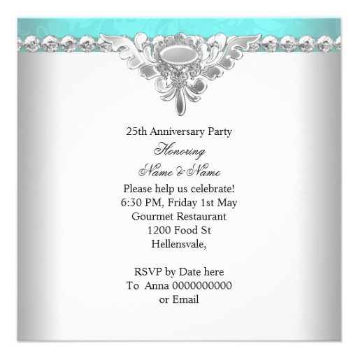 Elegant Teal Blue White 25th Wedding Anniversary Personalized Invitation (back side)