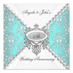 "Elegant Teal Blue White 25th Wedding Anniversary 5.25"" Square Invitation Card"
