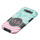 Elegant Teal Blue & white floral damask & stripes Galaxy SIII Covers