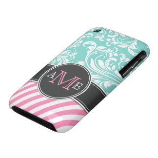 Elegant Teal Blue & white floral damask & stripes iPhone 3 Case