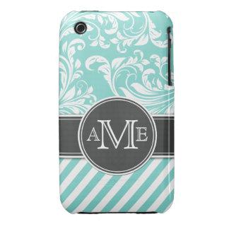Elegant Teal Blue & white floral damask & stripes iPhone 3 Cases