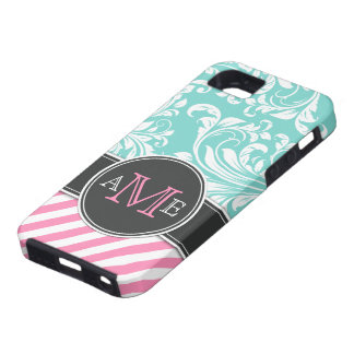 Elegant Teal Blue & white floral damask & stripes iPhone SE/5/5s Case