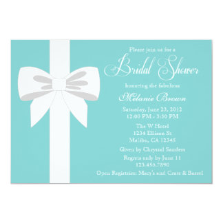 Elegant Teal Blue White Ribbon Bridal Shower 5x7 Paper Invitation Card