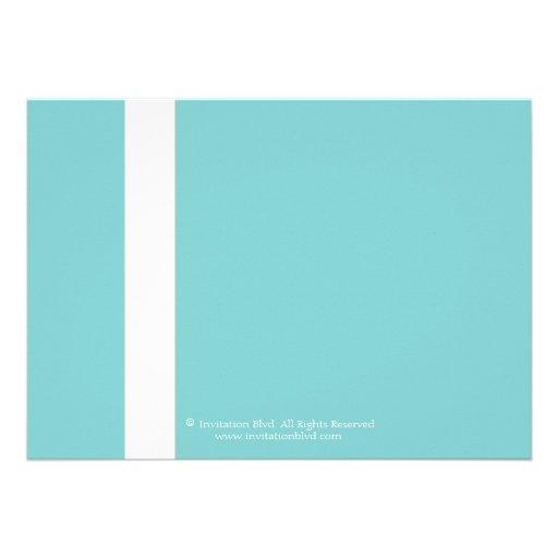 Elegant Teal Blue White Ribbon Bridal Shower Personalized Invitations (back side)