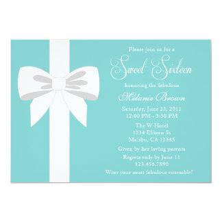 Elegant Teal Blue White Ribbon Sweet Sixteen 5x7 Paper Invitation Card