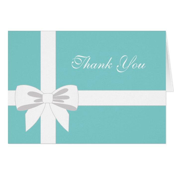 Elegant Teal Blue White Ribbon Thank You Card