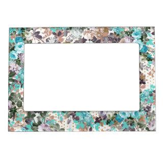 Elegant Teal Brown Roses Vintage Polka Dots Magnetic Picture Frame
