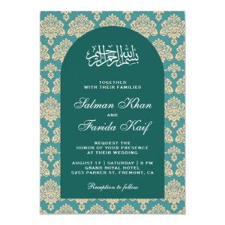 Elegant Teal Damask Arabian Arch Islamic Wedding Invitation