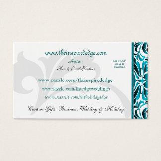 Elegant Teal Damask Artist Scroll Business Card