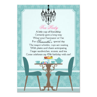 Elegant Teal Damask Birthday Tea Party Card