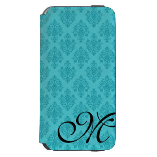 Elegant Teal Damask Initial Phone Folio Case