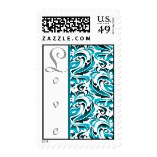 Elegant Teal Damask Love Postage Stamp