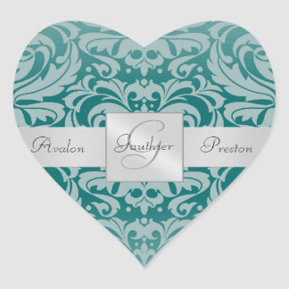 Elegant Teal Damask Monogram Heart Wedding Sticker
