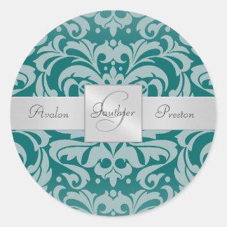 Elegant Teal Damask Monogram Wedding Sticker