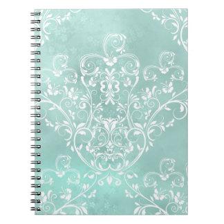 Elegant Teal Damask Notebook