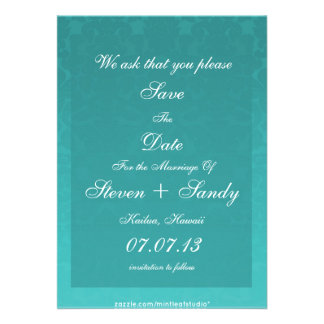 Elegant Teal Damask Save The Date Announcement