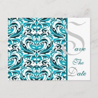 Elegant Teal Damask Save The Date Postcard postcard