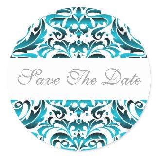 Elegant Teal Damask Save The Date Sticker sticker