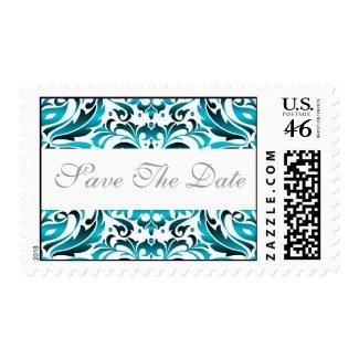 Elegant Teal Damask Save The Date Wedding Postage stamp