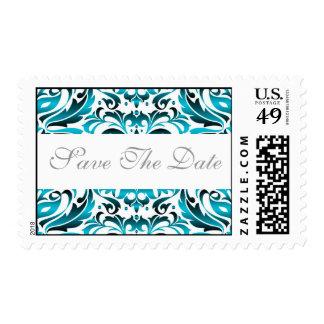 Elegant Teal Damask Save The Date Wedding Postage