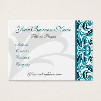 Elegant Teal Damask Scroll Business Card