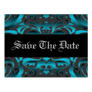 Elegant Teal Damask Scroll Save The Date Postcard