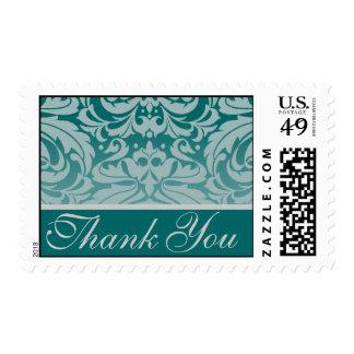 Elegant Teal Damask Thank You Postage Stamp