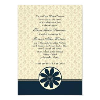 Elegant Teal Damask Wedding Invitation