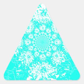 Elegant Teal  Floral Dahlia Flower Pattern Triangle Sticker