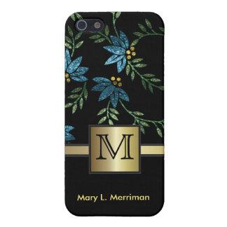 Elegant Teal Floral Glitter | Monogram Cover For iPhone SE/5/5s