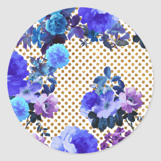 Elegant Teal Floral Pattern Girly Gold Polka Dots Classic Round Sticker