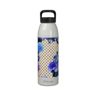 Elegant Teal Floral Pattern Girly Gold Polka Dots Reusable Water Bottles