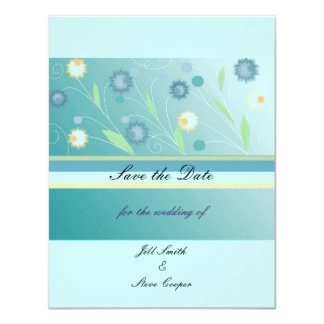Elegant Teal Floral  Save the Date Card