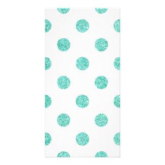 Elegant Teal Glitter Polka Dots Pattern Card