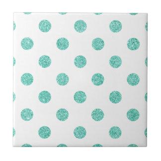 Elegant Teal Glitter Polka Dots Pattern Ceramic Tile