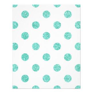 Elegant Teal Glitter Polka Dots Pattern Flyer