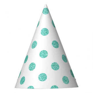 Elegant Teal Glitter Polka Dots Pattern Party Hat