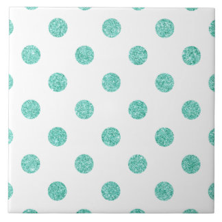 Elegant Teal Glitter Polka Dots Pattern Tile