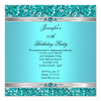 Elegant Teal Glitter Silver Diamond Pearl Birthday Card