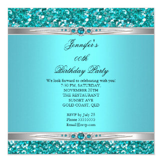 Elegant Teal Glitter Silver Diamond Pearl Birthday Invitation