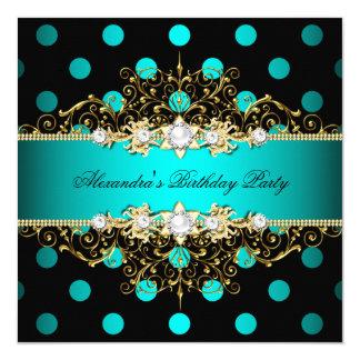 Elegant Teal Gold Black Polka Dots Birthday Party Card