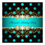 Elegant Teal Gold Black Polka Dots Birthday Party 5.25x5.25 Square Paper Invitation Card