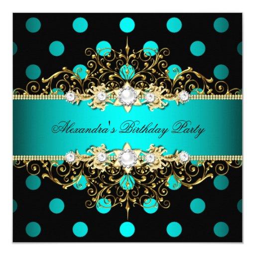 Elegant Teal Gold Black Polka Dots Birthday Party