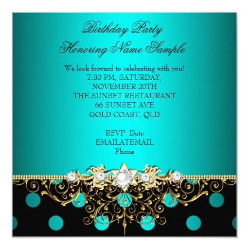 Elegant Teal Gold Black Polka Dots Birthday Party Custom Invitation Card (back side)