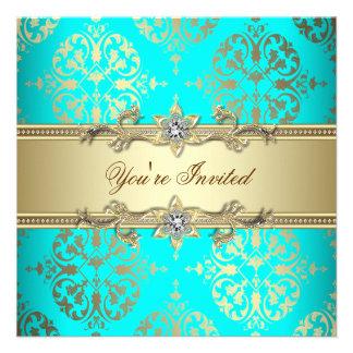 Elegant Teal Gold Damask Party Invites