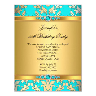 Elegant Teal Gold Damask Pearl Birthday Party Card